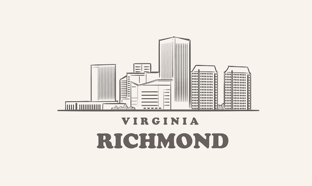 Skyline De Richmond, Croquis Dessiné De Virginie Grande Ville Vecteur Premium
