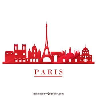 Skyline rouge de paris sur fond blanc