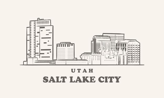 Skyline de salt lake city, croquis dessiné de l'utah
