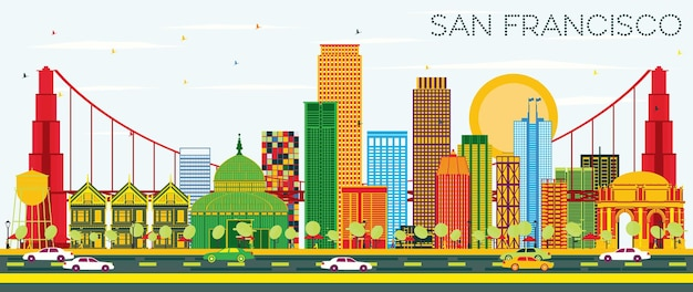 Skyline de san francisco avec bâtiments de couleur et ciel bleu. illustration vectorielle. concept de voyage d'affaires et de tourisme avec des bâtiments modernes. image pour la bannière de présentation et le site web.