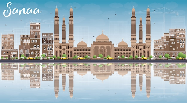 Skyline de sanaa (yémen) avec bâtiments bruns, ciel bleu et réflexions.