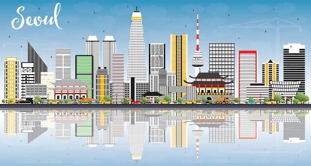 Skyline de séoul en corée avec des bâtiments de couleur, un ciel bleu et des reflets. illustration vectorielle. concept de voyage d'affaires et de tourisme à l'architecture moderne. paysage urbain de séoul avec des points de repère.