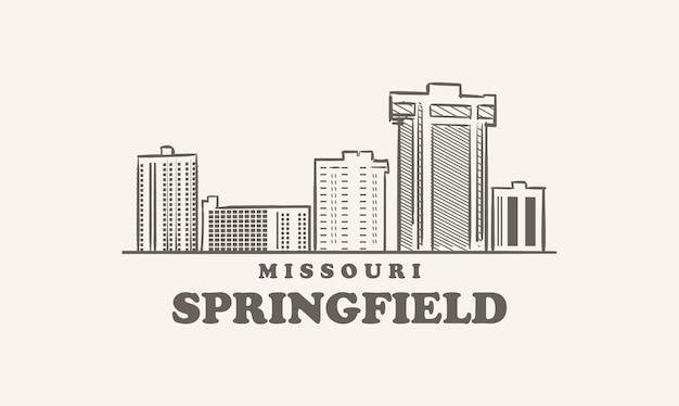 Skyline de springfield, esquisse dessinée du missouri grande ville