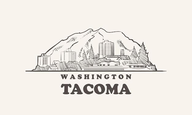Skyline de tacoma, ville de croquis dessinés à la main de washington