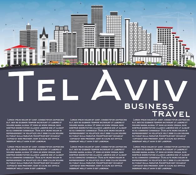 Skyline de tel-aviv avec bâtiments gris, ciel bleu et espace de copie. illustration vectorielle. concept de voyage d'affaires et de tourisme à l'architecture moderne. image pour la bannière de présentation et le site web.