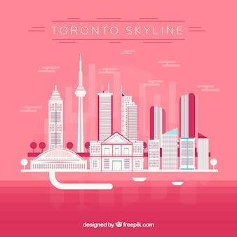 Skyline de toronto sur fond rose