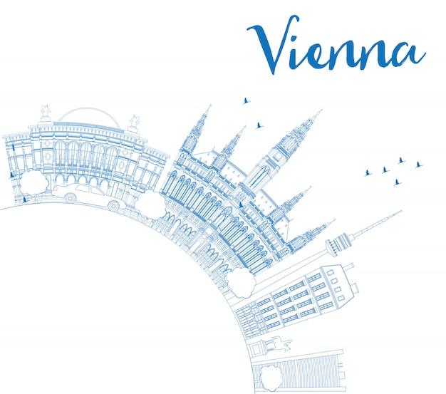 Skyline de vienne contour avec l'espace de copie de bâtiments bleus.