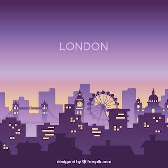 Skyline de la ville de silhouette dans le style plat