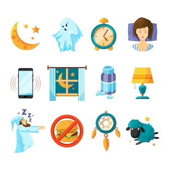 Sleeping icon set