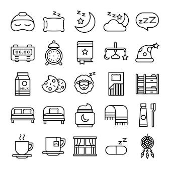 Sleeping pack d'icônes. collection de symboles de sommeil isolé. élément d'icônes graphiques