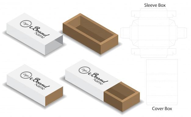 Slide box die cut mock up template vecteur