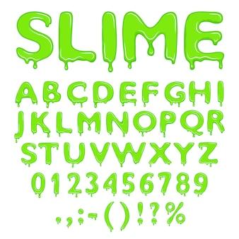 Slime chiffres et symboles de l'alphabet