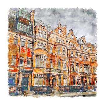 Sloane square londres aquarelle croquis dessinés à la main illustration