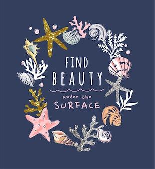Slogan de beauté avec coquillages dessinés à la main et illustration de paillettes