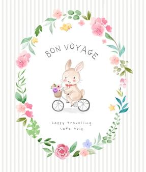 Slogan de bon voyage avec mignon lapin à vélo dans l'illustration de cadre de fleurs