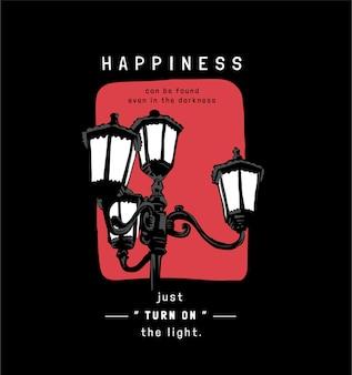 Slogan de bonheur avec lampadaire vintage sur fond noir