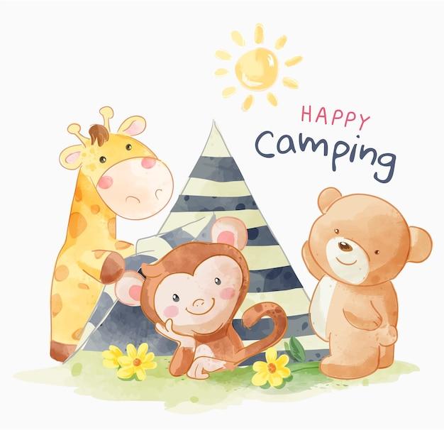Slogan de camping avec illustration d'amis de dessin animé d'animaux mignons