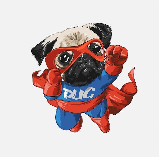 Slogan avec chien de dessin animé en illustration de costume de héros