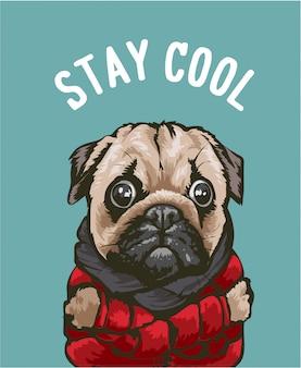 Slogan cool avec chien de bande dessinée en illustration de veste rouge