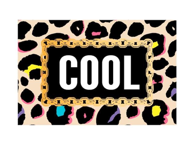 Slogan cool sur la texture léopard