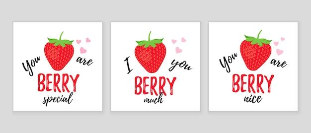 Slogan drôle de fraise. citation avec fraise. jeu de mots d'amour mignon. illustration vectorielle.