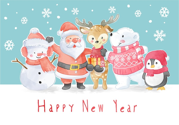 Slogan du nouvel an avec illustration des équipages de noël