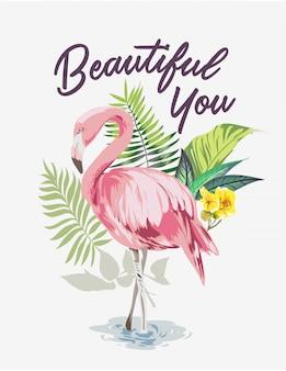 Slogan avec flamant rose sur forêt exotique