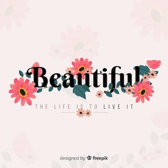 Slogan avec fond de fleurs dessinées à la main