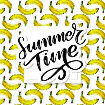 Slogan de l'heure d'été avec motif sans couture de banane.