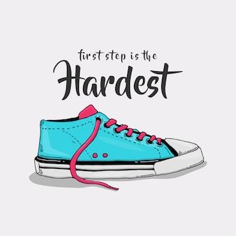 Slogan avec illustration de baskets pastel