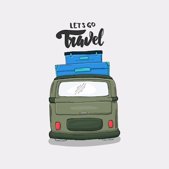 Slogan avec une illustration de van