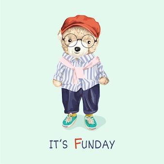 Slogan de la journée amusante avec un jouet d'ours mignon dans une illustration de style mode