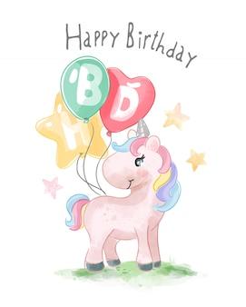 Slogan de joyeux anniversaire avec illustration animal mignon et ballons colorés
