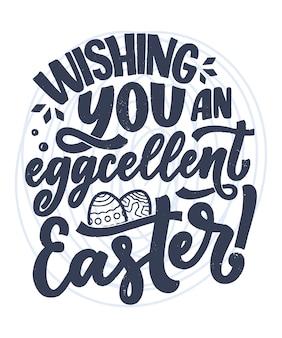 Slogan de lettrage de calligraphie sur pâques pour la conception de flyer et d'impression.