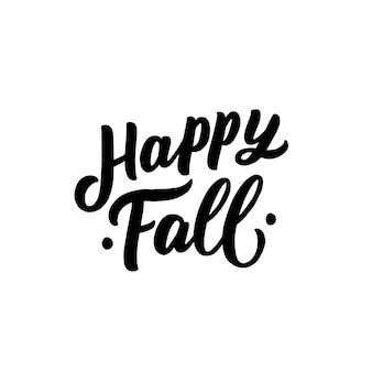 Slogan de lettrage dessiné main automne heureux