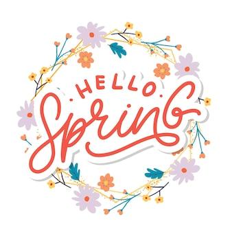 Slogan de lettrage hello spring flowers text frame