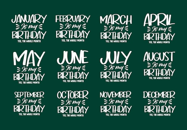 Slogan de lettrage pour la conception de joyeux anniversaire cite le t-shirt et le paquet de typographie de marchandise