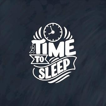 Slogan de lettrage sur le sommeil et la bonne nuit.