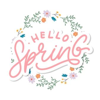 Slogan de lettrage de texte hello spring flowers