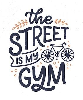 Slogan de lettrage sur le vélo pour la conception d'affiche, d'impression et de t-shirt. enregistrer la citation de la nature. illustration vectorielle