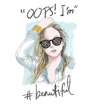 Slogan avec des lunettes de soleil fille illustration et paillettes