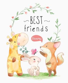 Slogan des meilleurs amis avec des animaux mignons et illustration de cadre de cercle de feuilles