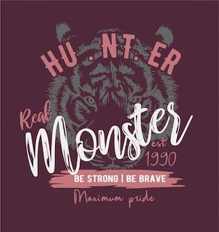 Slogan de monstre sur fond de croquis de tigre