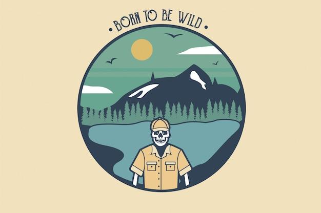 Slogan et montagnes du crâne arctique vintage