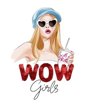 Slogan de paillettes de filles wow avec une fille dessinée à la main en illustration de lunettes de soleil