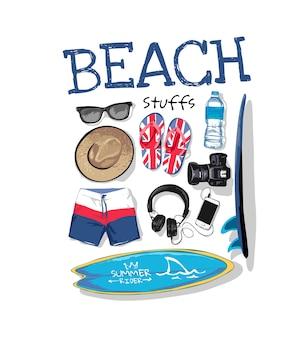 Slogan de plage avec une collection d'articles d'été