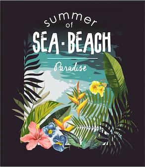 Slogan de la plage tropicale avec illustration de la jungle et de la plage