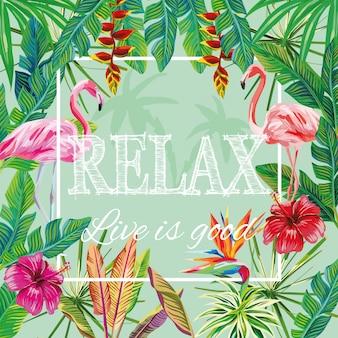 Slogan relax live is good fleurs feuilles flamingo green
