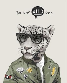 Le slogan sauvage avec léopard dans les lunettes de soleil et l'illustration de la veste