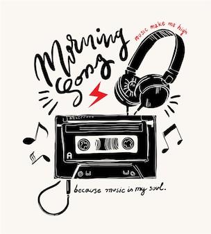 Slogan de typographie avec cassette